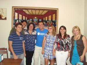 Conversa com blogueiros queridos do Amapá. A companheira Alcinea Cavalcanti, ao meu lado, à direita.